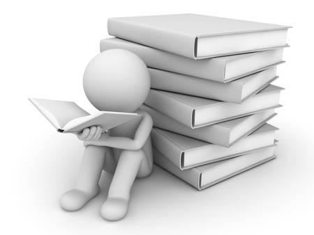 3d homme lisant un livre avec une pile de livres sur fond blanc derrière