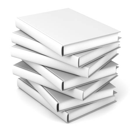 ebook cover: Stack of blank books over white background Stock Photo