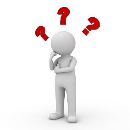 hombre pensando: Hombre 3d que piensa con signos de interrogaci�n rojos por encima de su cabeza sobre fondo blanco Foto de archivo