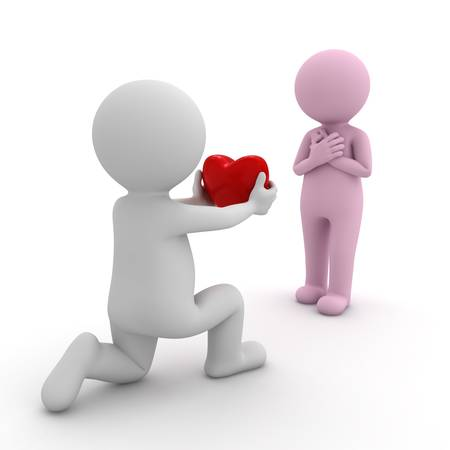 3D uomo scendendo su un ginocchio e dando il cuore alla sua fidanzata su sfondo bianco