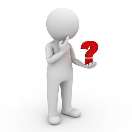3d homme regardant point d'interrogation rouge dans sa main et de penser sur fond blanc