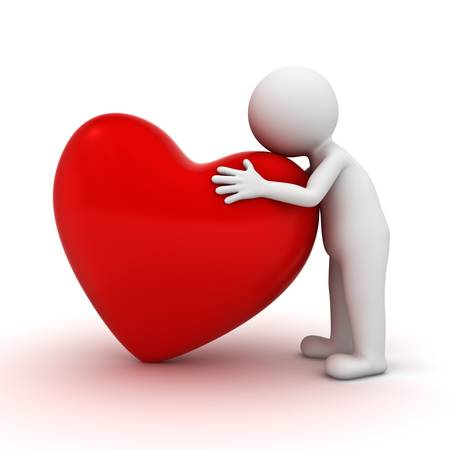 3d homme étreignant le coeur rouge sur fond blanc Banque d'images