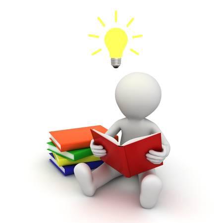 idee gl�hbirne: 3d Mann sitzt auf dem Boden und liest ein Buch mit der Idee Gl�hbirne �ber seinem Kopf auf wei�em Hintergrund Lizenzfreie Bilder