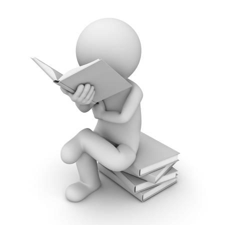 libro caricatura: 3d hombre sentado sobre una pila de libros y la lectura de libros sobre fondo blanco