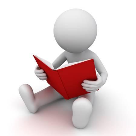 3d homme assis et lisant un livre rouge sur fond blanc