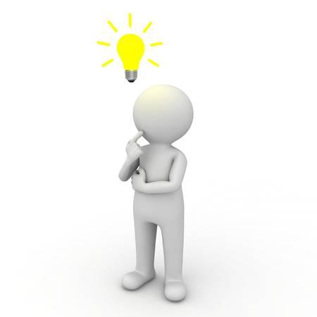 3d homme pensant avec ampoule idée dessus de sa tête sur fond blanc