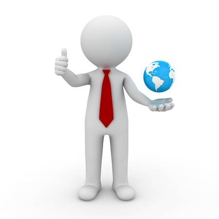 3d business man showing thumbs up with globe in his hand over white background photo