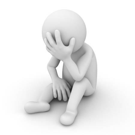 Depresso 3D uomo seduto su sfondo bianco