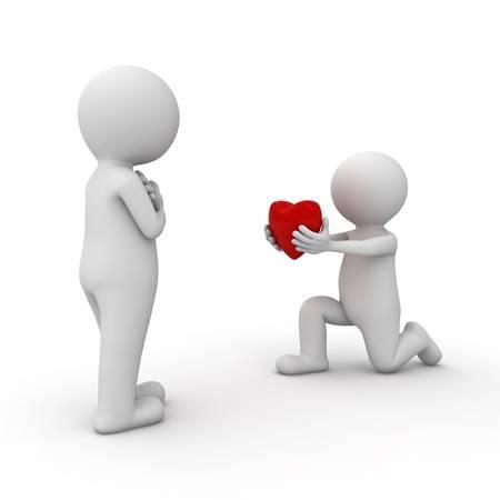 3D man krijgt neer op een knie en het geven van hart om zijn geliefde op een witte achtergrond Stockfoto