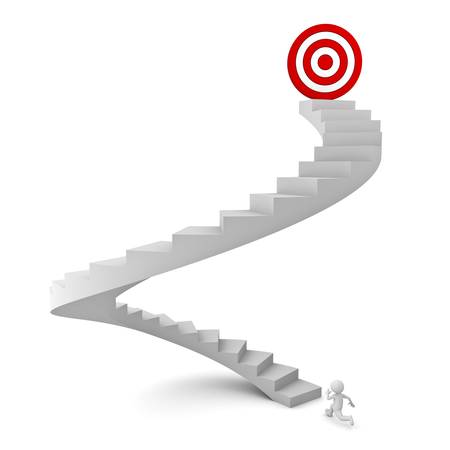 path to success: 3d man running to the target on top of the stairs over white background