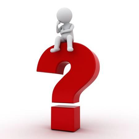 punto di domanda: 3D uomo seduto sul punto interrogativo rosso su sfondo bianco