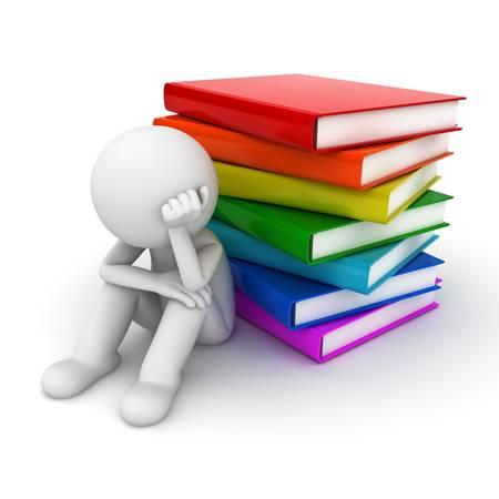 perezoso: Preocupado hombre 3d que se sienta con la pila de libros sobre fondo blanco