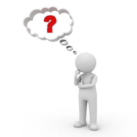 3d man thinking with red question mark in thought bubble above his head over white background