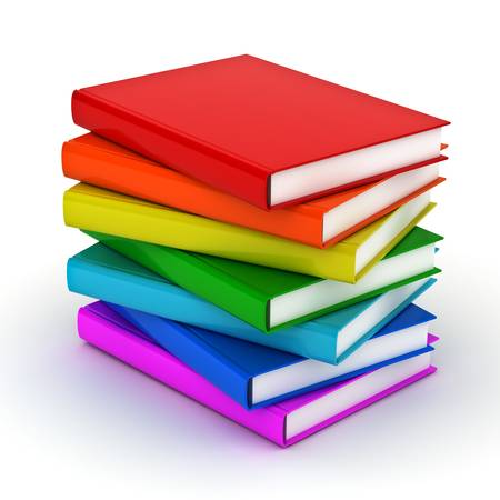 e book: Stack of colorful books over white background