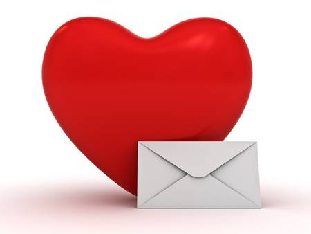 Heart and envelope over white background photo