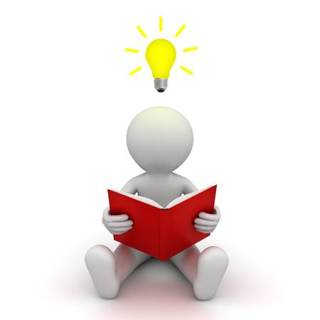 reads: 3d man sitting on the floor and reading a book with idea bulb above his head over white background