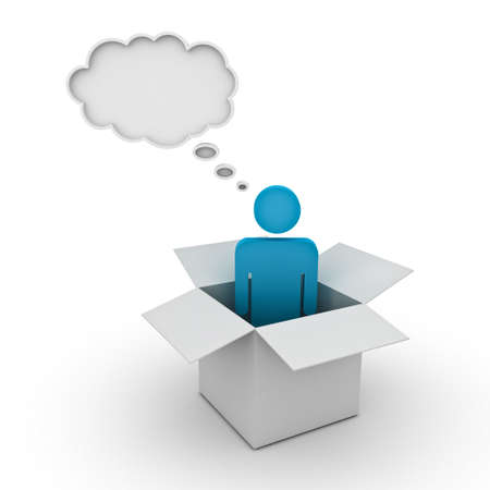 Think outside the box concept, man standing in the box with thought bubble above his head over white background photo
