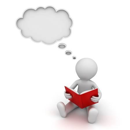 3d homme lisant un livre et penser avec une bulle de pensée sur fond blanc