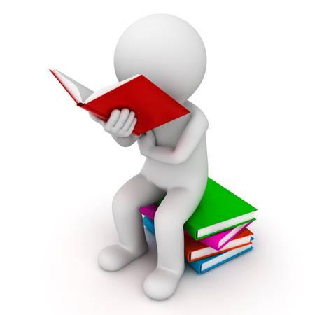 3D uomo seduto su una pila di libri e la lettura libro su sfondo bianco