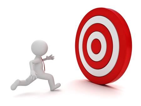 3d man loopt naar de rode doel op een witte achtergrond
