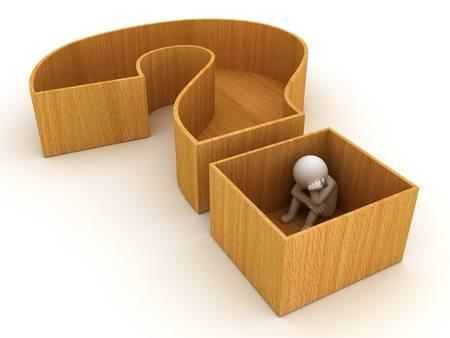3D man zittend in vraagteken kist op een witte achtergrond