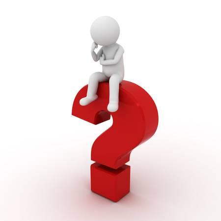 dudas: Hombre 3d que se sienta en signo de interrogación rojo sobre fondo blanco