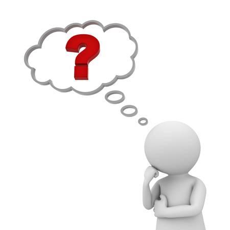 punto di domanda: 3D uomo che pensa con punto interrogativo rosso in bolla di pensiero su sfondo bianco
