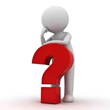 perplesso: Uomo 3d con il punto interrogativo rosso su sfondo bianco Archivio Fotografico
