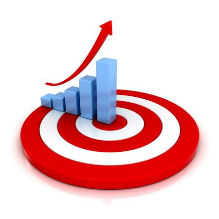 growth opportunity: Business graph with rising arrow on red target over white background with reflection
