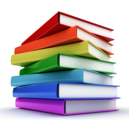 ebook cover: Stack of colorful books over white background