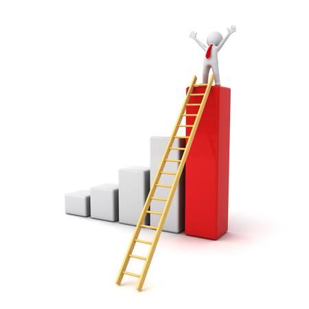 Succes concept, 3D man met armen wijd open op de top van de groei zakelijke staafdiagram met houten ladder die over witte achtergrond