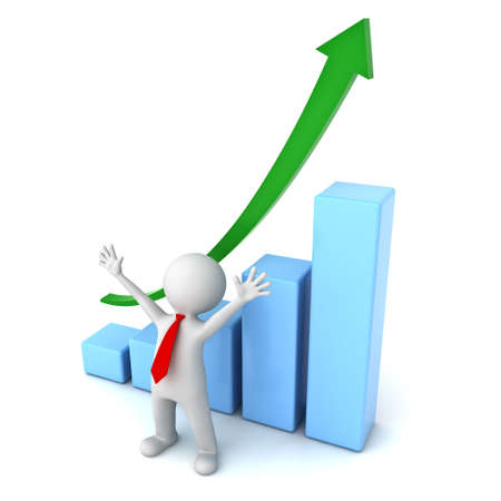 arms wide open: Successful business concept 3d man standing with arms wide open in front of growth business graph isolated over white background