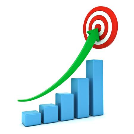 Business graph with green rising arrow moving up to center of the red target isolated over white background