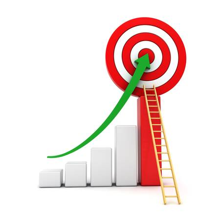 progress bar: Business graph with green rising arrow moving up to the center of red target with wood ladder concept isolated over white background
