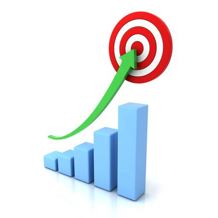 financial targets: Business graph with green rising arrow and red target isolated over white background with reflection Stock Photo