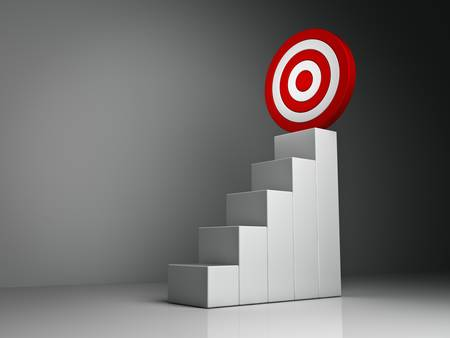 reaching: Steps and graph to the red target business concept