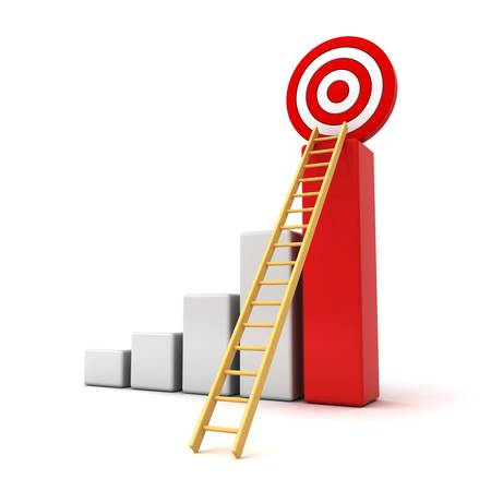 aspirations ideas: Business target concept , 3d business graph with wood ladder to the red target isolated over white background