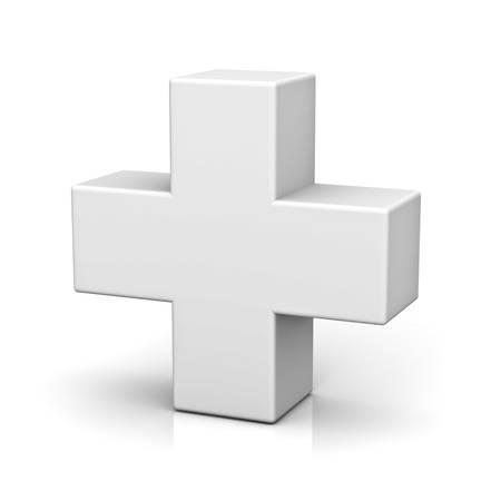 Blanc signe plus isolé sur fond blanc avec la réflexion