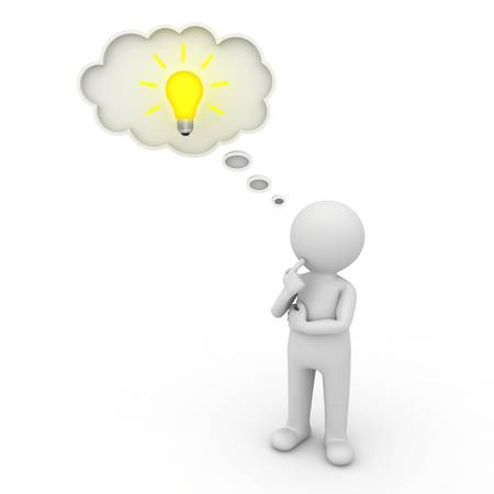 3d man thinking with thought bubble and idea bulb over white background photo