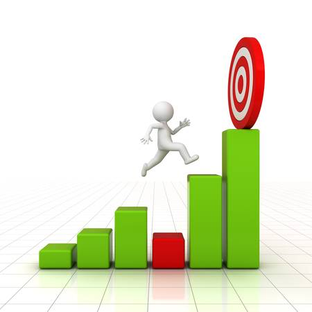 problem solving: 3D Man jumping across the problem to his successful goal on business graph over white background with reflection