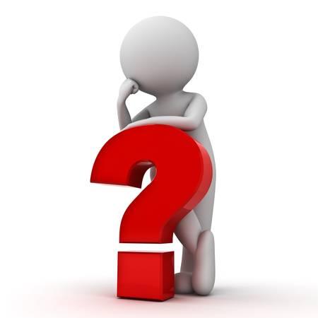 answer question: Uomo 3D con punto interrogativo rosso su sfondo bianco