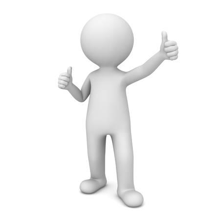 3D Man Showing Like Thumbs Up isolated over white background photo