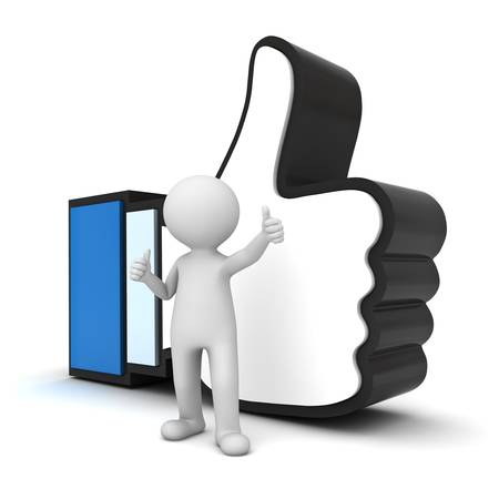 social networking: 3D Man showing thumb up with like hand symbol over white background
