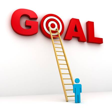 Man gericht op zijn doel in rode woord doel, Business doel concept