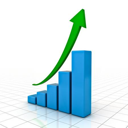 sales growth: Business Graph with green rising arrow over white background with reflection