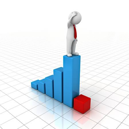 mystery man: 3D Man standing on top of growth business graph and looking at red bar chart over white background with reflection Stock Photo
