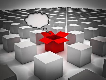 Stand uit de menigte, Individualiteit, Different en Think outside the box concepten, Geopende rode doos met gedachte bel onder de gesloten witte vakken
