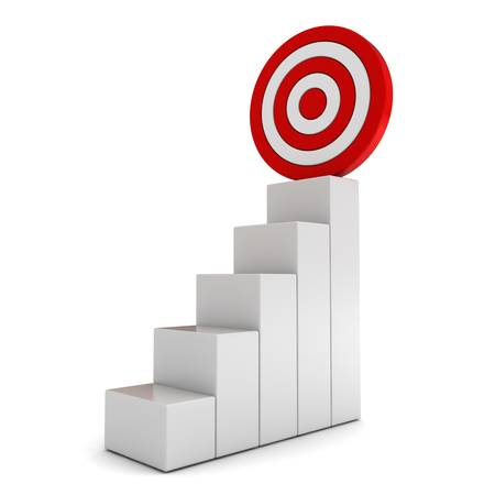 climbing ladder: Step graph with goal target business concept over white background