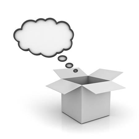 think out of box: Open Box with blank thought bubble over white background with reflection , Think outside the box concept