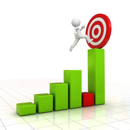 3D Man jumping across the problem to his successful goal on business graph over white background with reflection photo